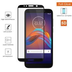 Protector Cristal Templado Completo 5D Full Glue Negro para Motorola Moto E6 Play Vidrio