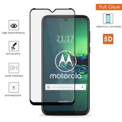 Protector Cristal Templado Completo 5D Full Glue Negro para Motorola Moto G8 Plus Vidrio
