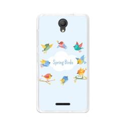 "Funda Gel Tpu para Alcatel Pixi 4 (5"") 3G Diseño Spring Birds Dibujos"