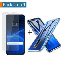 Pack 2 En 1 Funda Gel Transparente + Protector Cristal Templado para Realme X2 Pro