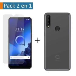 Pack 2 En 1 Funda Gel Transparente + Protector Cristal Templado para Alcatel 3X 2020
