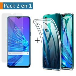 Pack 2 En 1 Funda Gel Transparente + Protector Cristal Templado para Realme 5 / 5s / 5i / 6i