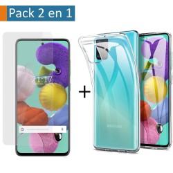 Pack 2 En 1 Funda Gel Transparente + Protector Cristal Templado para Samsung Galaxy A51