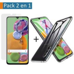 Pack 2 En 1 Funda Gel Transparente + Protector Cristal Templado para Samsung Galaxy A90 5G