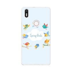 Funda Gel Tpu para Bq Aquaris X5 Plus Diseño Spring Birds Dibujos