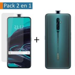 Pack 2 En 1 Funda Gel Transparente + Protector Cristal Templado para Oppo Reno 2Z