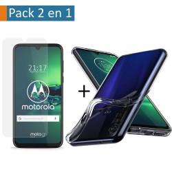 Pack 2 En 1 Funda Gel Transparente + Protector Cristal Templado para Motorola Moto G8 Plus