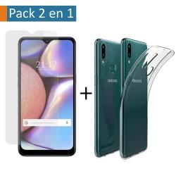 Pack 2 En 1 Funda Gel Transparente + Protector Cristal Templado para Samsung Galaxy A10s