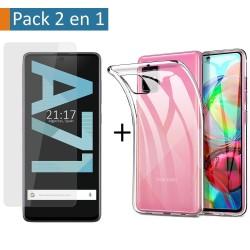 Pack 2 En 1 Funda Gel Transparente + Protector Cristal Templado para Samsung Galaxy A71