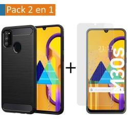 Pack 2 En 1 Funda Gel Tipo Carbono + Protector Cristal Templado para Samsung Galaxy M30s