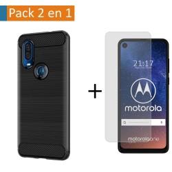 Pack 2 En 1 Funda Gel Tipo Carbono + Protector Cristal Templado para Motorola One Vision