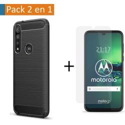 Pack 2 En 1 Funda Gel Tipo Carbono + Protector Cristal Templado para Motorola Moto G8 Plus