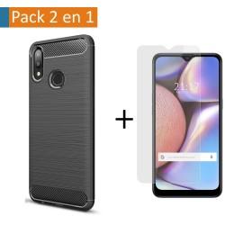 Pack 2 En 1 Funda Gel Tipo Carbono + Protector Cristal Templado para Samsung Galaxy A10s