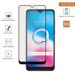 Protector Cristal Templado Completo 5D Full Glue Negro para Alcatel 3L 2020 Vidrio