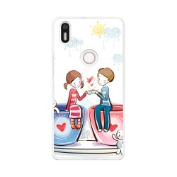 Funda Gel Tpu para Bq Aquaris X5 Plus Diseño Cafe Dibujos