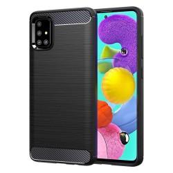 Funda Gel Tpu Tipo Carbon Negra para Samsung Galaxy A51