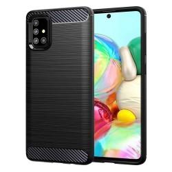 Funda Gel Tpu Tipo Carbon Negra para Samsung Galaxy A71