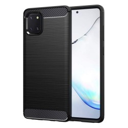 Funda Gel Tpu Tipo Carbon Negra para Samsung Galaxy Note 10 Lite