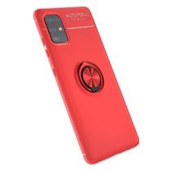 Funda Magnetica Soporte con Anillo Giratorio 360 para Samsung Galaxy A51 Roja