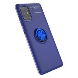 Funda Magnetica Soporte con Anillo Giratorio 360 para Samsung Galaxy A71 Azul
