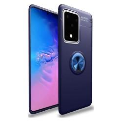 Funda Magnetica Soporte con Anillo Giratorio 360 para Samsung Galaxy S20 Ultra Azul