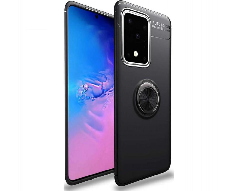 Funda Magnetica Soporte con Anillo Giratorio 360 para Samsung Galaxy S20 Ultra Negra