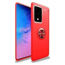 Funda Magnetica Soporte con Anillo Giratorio 360 para Samsung Galaxy S20 Ultra Roja