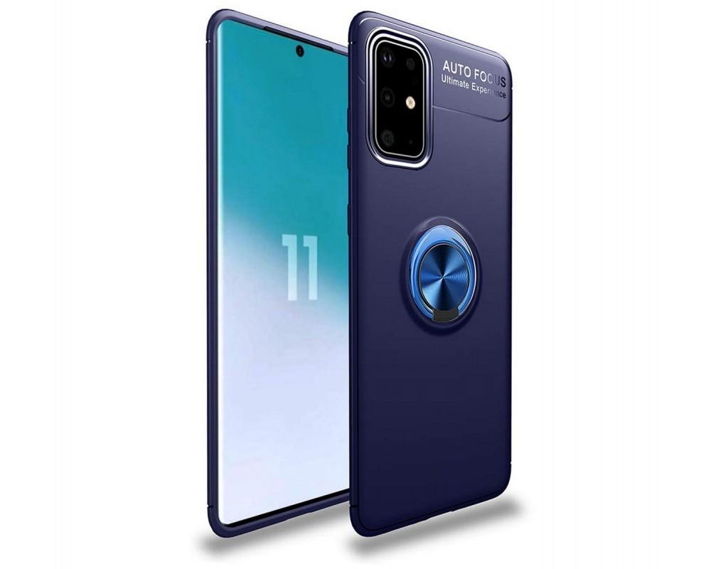 Funda Magnetica Soporte con Anillo Giratorio 360 para Samsung Galaxy S20+ Plus Azul