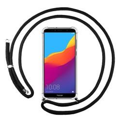 Funda Colgante Transparente para Huawei Honor 7A / Y6 2018 con Cordon Negro