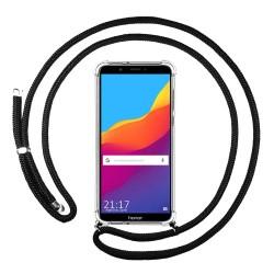 Funda Colgante Transparente para Huawei Honor 7C / Y7 2018 con Cordon Negro