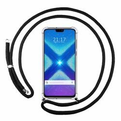 Funda Colgante Transparente para Huawei Honor 8X con Cordon Negro