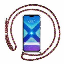 Funda Colgante Transparente para Huawei Honor 8X con Cordon Rosa / Dorado