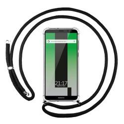 Funda Colgante Transparente para Huawei Mate 10 Lite con Cordon Negro