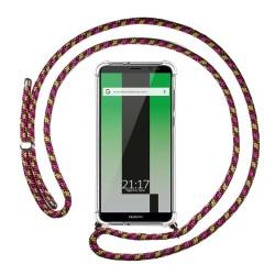 Funda Colgante Transparente para Huawei Mate 10 Lite con Cordon Rosa / Dorado
