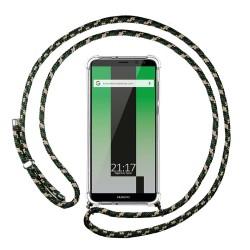 Funda Colgante Transparente para Huawei Mate 10 Lite con Cordon Verde / Dorado