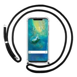 Funda Colgante Transparente para Huawei Mate 20 Pro con Cordon Negro