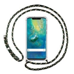 Funda Colgante Transparente para Huawei Mate 20 Pro con Cordon Verde / Dorado