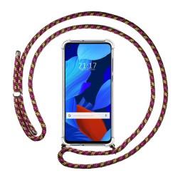 Funda Colgante Transparente para Huawei Nova 5T / Honor 20 con Cordon Rosa / Dorado