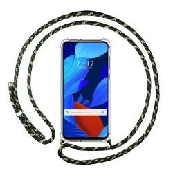 Funda Colgante Transparente para Huawei Nova 5T / Honor 20 con Cordon Verde / Dorado