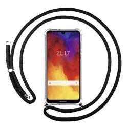Funda Colgante Transparente para Huawei Y6 2019 / Y6s 2019 con Cordon Negro