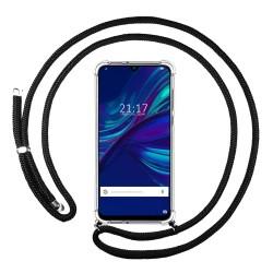 Funda Colgante Transparente para Huawei Y7 2019 con Cordon Negro