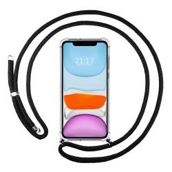 Funda Colgante Transparente para Iphone 11 (6.1) con Cordon Negro