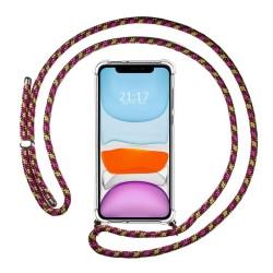 Funda Colgante Transparente para Iphone 11 (6.1) con Cordon Rosa / Dorado