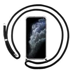 Funda Colgante Transparente para Iphone 11 Pro Max con Cordon Negro