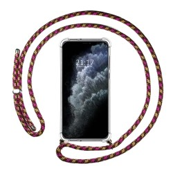 Funda Colgante Transparente para Iphone 11 Pro Max con Cordon Rosa / Dorado