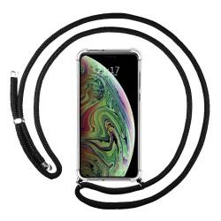 Funda Colgante Transparente para Iphone Xs Max con Cordon Negro
