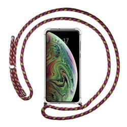 Funda Colgante Transparente para Iphone Xs Max con Cordon Rosa / Dorado