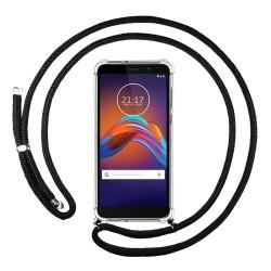 Funda Colgante Transparente para Motorola Moto E6 Play con Cordon Negro