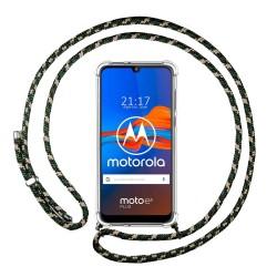Funda Colgante Transparente para Motorola Moto E6 Plus con Cordon Verde / Dorado