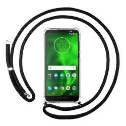 Funda Colgante Transparente para Motorola Moto G6 con Cordon Negro